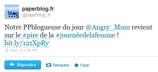 Angry Mum remercie aussi PaperBlog