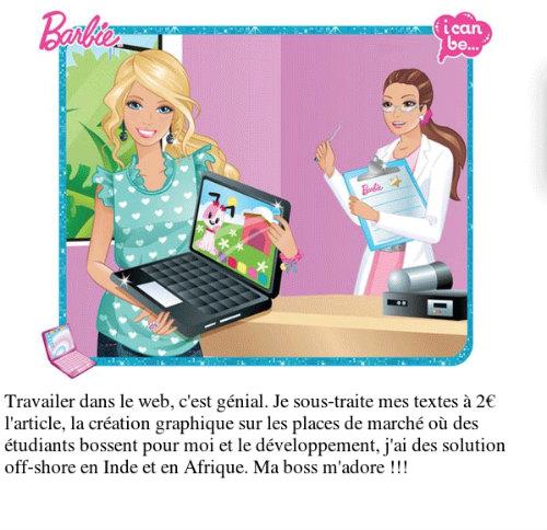 Barbie travaille dans le web