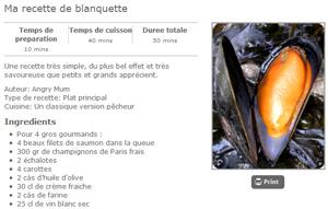 La recette imprimable avec images de la blanquette de poisson